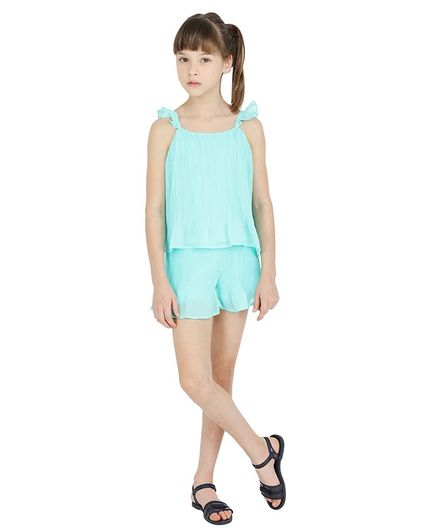 One Friday Solid Sleeveless Pleated Top - Mint Green