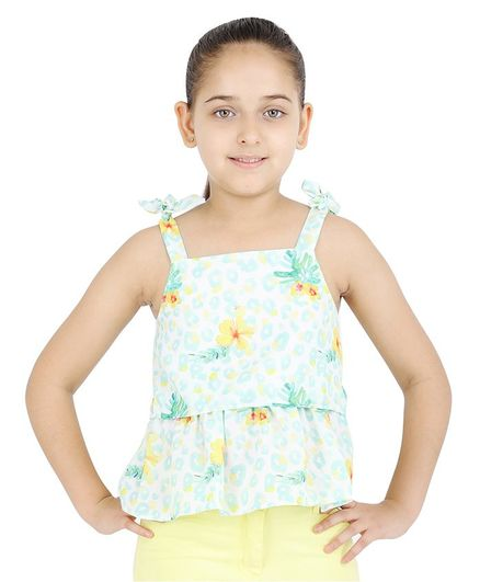 One Friday Sleeveless Flower Print Over Lay Top - Blue