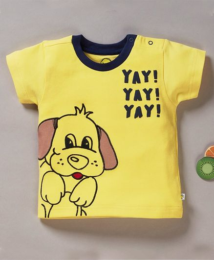 Pranava Organic Cotton Half Sleeves Dog Print Tee - Yellow