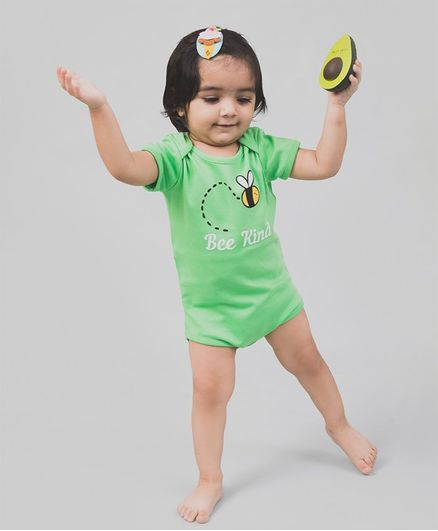 Nap Chief Organic Cotton Short Sleeves Bee Kind Printed Onesie - Green