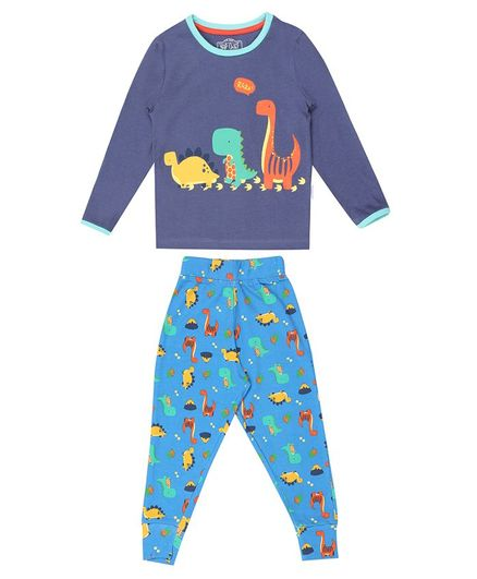 Nap Chief Organic Cotton Dino Print Full Sleeves Night Suit - Blue