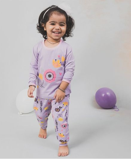 Nap Chief Organic Cotton Flower Printed Full Sleeves Night Suit - Lavender