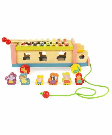 Shumee 3 In 1 Wooden Pull Along Toy - Multicolor