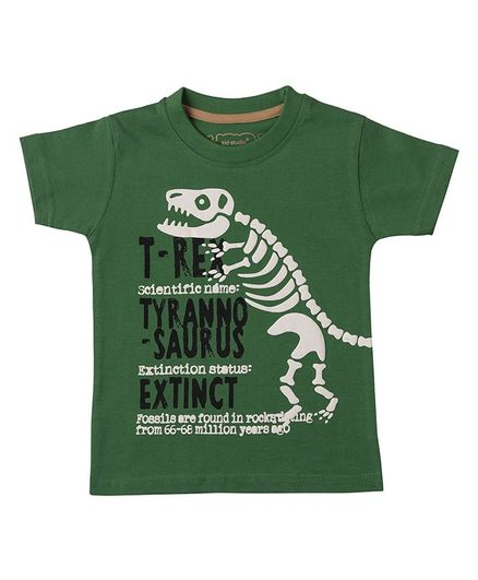 Kid Studio Half Sleeves Dinosaur Foam Printed  Foam Printed T-Shirt - Green