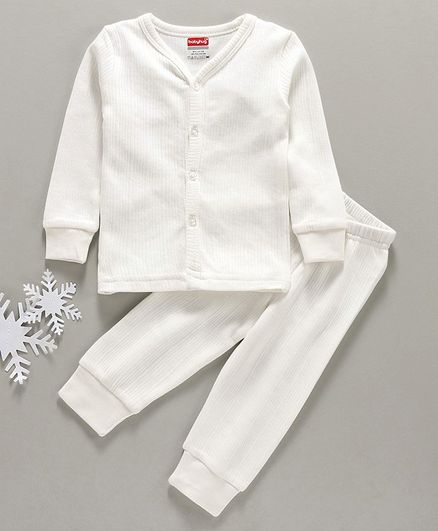 Babyhug Full Sleeves Full Length Thermal Wear Set - Off White