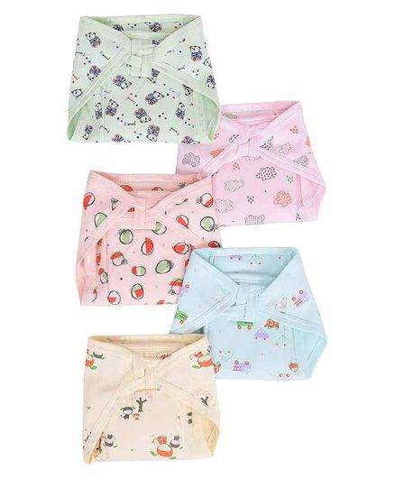 Mom's Home Cotton Cloth Nappies Multi Print Pack of 5 - Multicolor