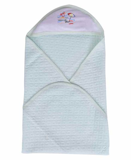 Mom's Home Cotton Hooded Baby Towel Beach Print - Green