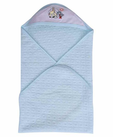 Mom's Home Cotton Hooded Baby Towel Giraffe Print - Blue