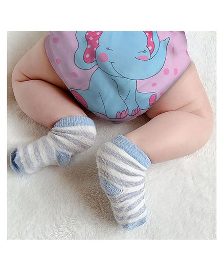 Polka Tots Reusable Cloth Diapers with Bamboo Insert Elephant Print - Blue Pink