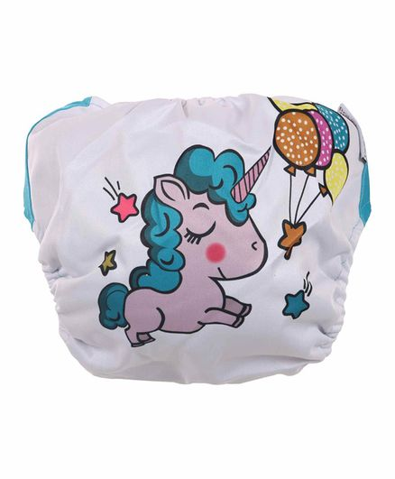 Polka Tots Reusable Cloth Diapers with Bamboo Insert Unicorn Print - Multicolor