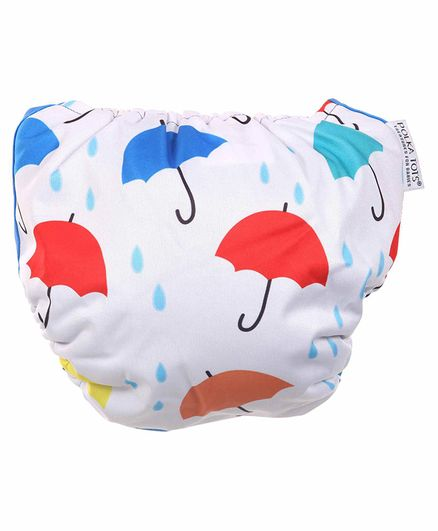 Polka Tots Reusable Cloth Diapers with Bamboo Insert Umbrella Print - Multicolor