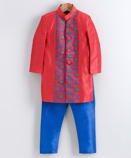 Babyhug Full Sleeves Embroidered Sherwani Set - Red Blue