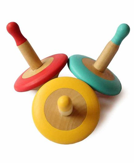 Shumee Wooden Spin Tops Pack of 3 - Red Green Yellow