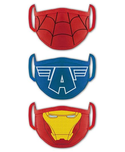 Babyhug 4 to 8 Years Washable & Reusable Knit Face Mask Superheroes - Pack of 3