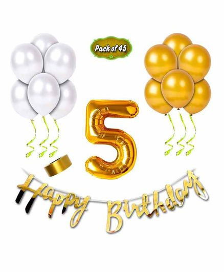 Shopperskart Fifth Birthday Decoration Kit Golden - Pack of 45