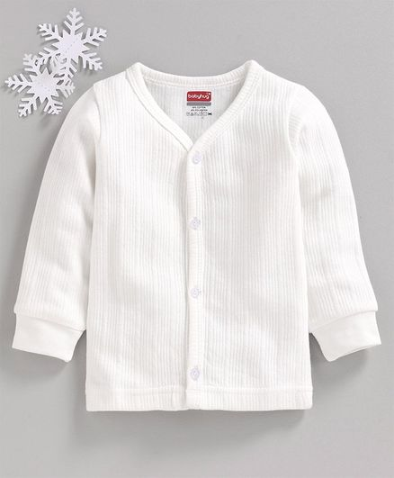 Babyhug Full Sleeves Solid Thermal Vest - Off White