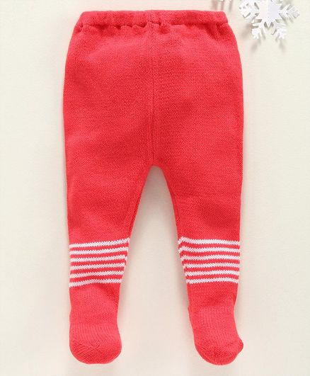 Babyhug Winter Wear Striped Bootie Leggings - Coral Red
