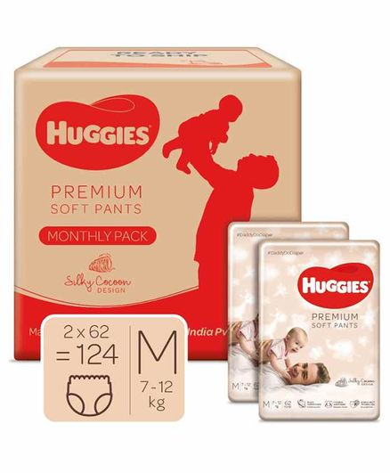 Huggies Premium Soft Pants Monthly Pack Medium Size Diapers - 124 Pieces