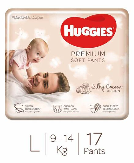 Huggies Premium Soft Pants Large Size Diapers - 17 Pieces