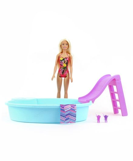 Barbie Pool Party Set Blue Pink - Height 28.5 cm