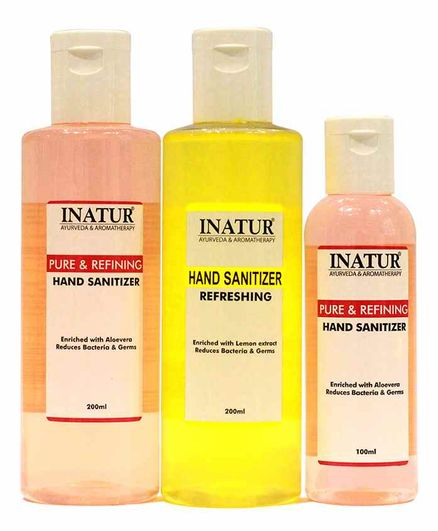 Inatur Herbals Alcohol Based Hand Sanitizer Pack of 3 - 200 ml & 100 ml