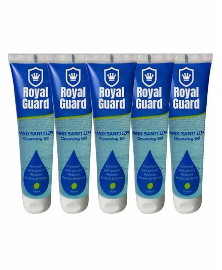 Royal Guard Alcohol Based Hand Sanitizer Gel Pack of 5 - 100 ml Each