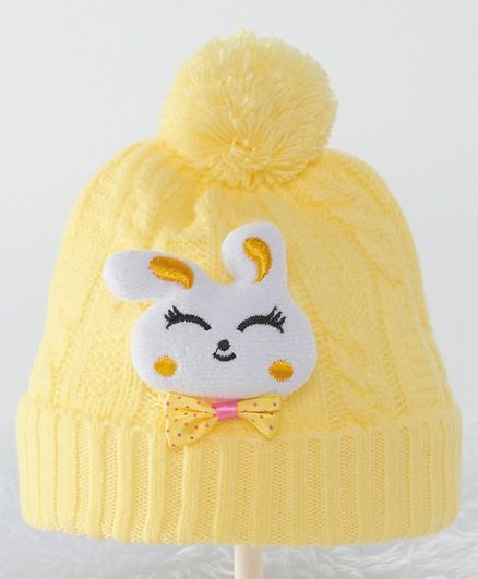 Babyhug Woolen Pom Pom Cap with Rabbit Patch - Yellow