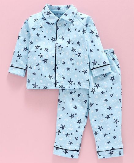 Babyoye Full Sleeves Night Suit Star Print - Blue