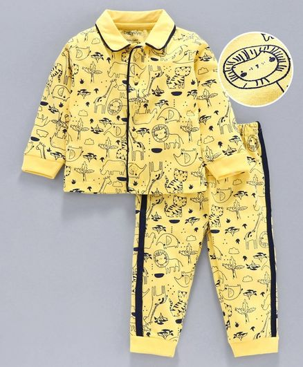 Babyoye Full Sleeves Winter Night Wear Animal Print - Yellow