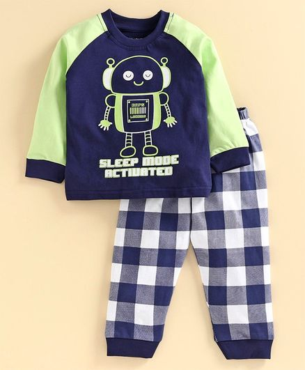 Babyoye Full Sleeves Night Suit Robo Print - Navy Blue