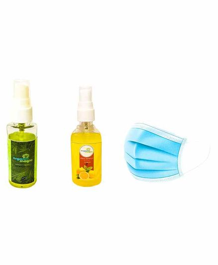 Organic Magic Anti Mosquito Spray and Hand Sanitizer Combo Set with Mask Pack of 3 - 50 ml Each