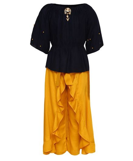 Aarika Three Fourth Sleeves Pearl Embellished Top With Pants  - Yellow & Blue