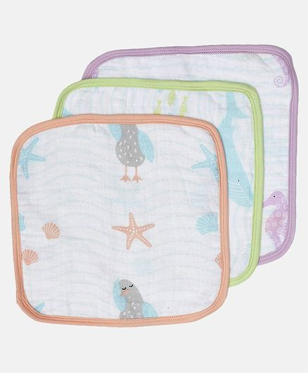 Ooka Baby 100% Premium Cotton Muslin Washcloths Pack of 3 - Ocean's Lullaby Prints