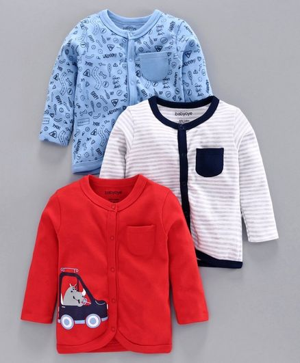 Babyoye Full Sleeves Cotton Jhabla Vest Pack of 3 - White Red Blue