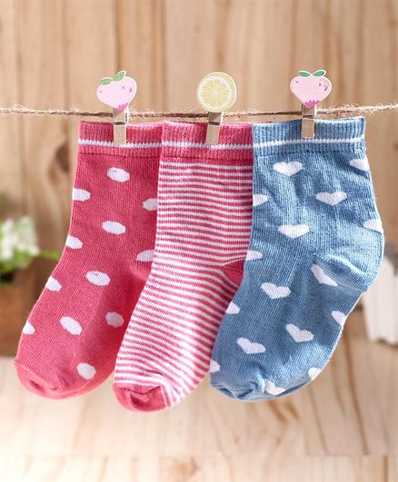Cute Walk By Babyhug Non Terry Antibacterial Ankle Length Socks Pack of 3 - Pink Blue