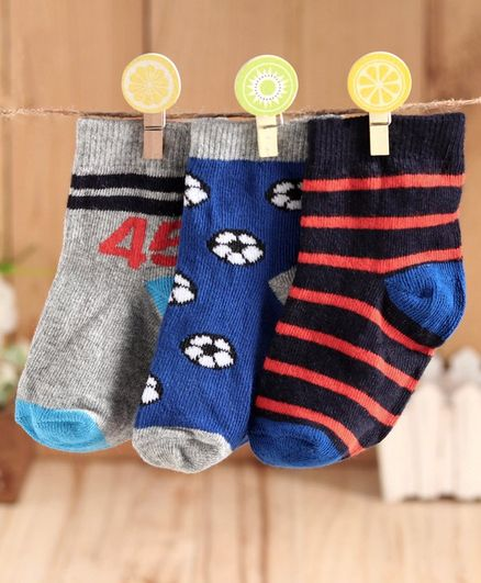 Cute Walk by Babyhug Anti Bacterial Ankle Length Socks Pack of 3 - Grey Blue