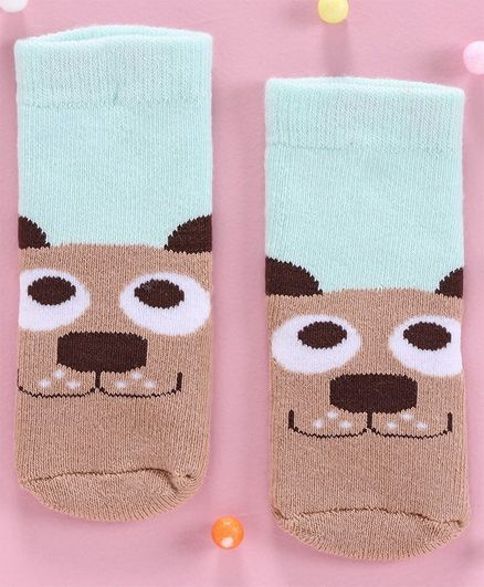 Cut Walk by Babyhug Anti Bacterial Ankle Length Socks Puppy Design - Blue Brown