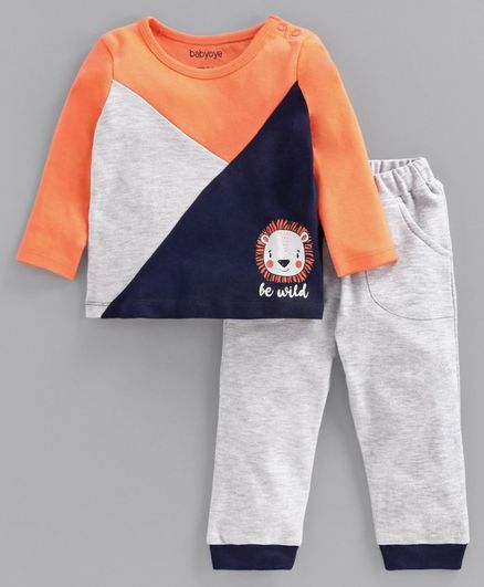 Babyoye Full Sleeves Tee & Bottom Set Lion Print - Orange Grey