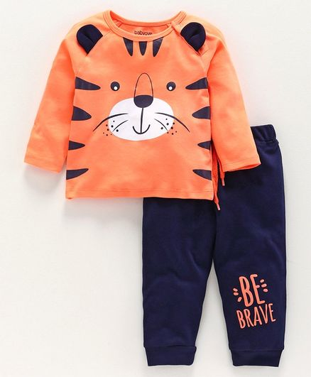 Babyoye Cotton 3D Ears Full Sleeves Tee with Lounge Pant Tiger Print - Orange Navy Blue