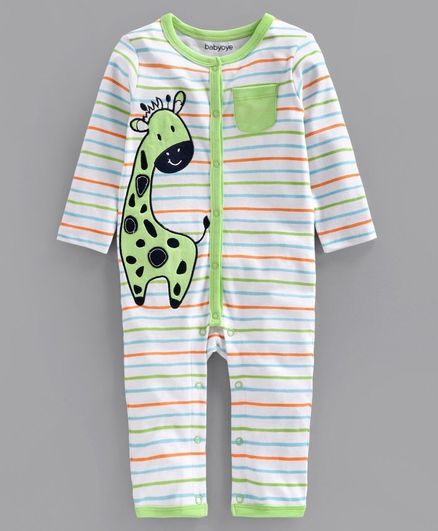 Babyoye Full Sleeves Cotton Blend Rompers Giraffe Patch - Green