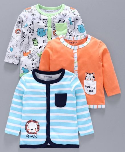 Babyhug 100% Cotton Vest Animal Print Pack of 3 - Orange Blue