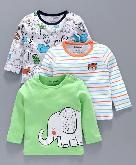 Babyoye Full Sleeves Tee Pack of 3 - Green White