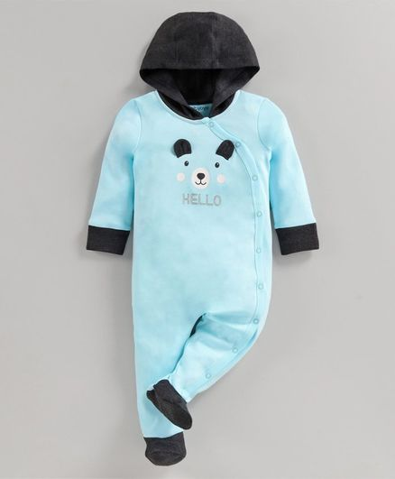 Babyoye Full Sleeves Footed Cotton Hooded Sleep Suit Bear Print - Blue