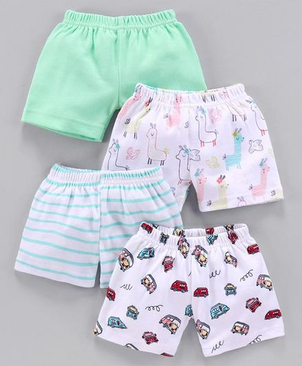 Bumzee Animals & Car Print Pack Of 4 Shorts - Green