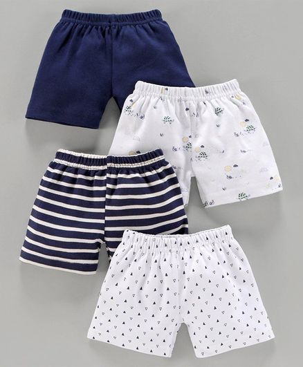 Bumzee Tiny Triangle Print Pack Of 4 Shorts - Navy Blue