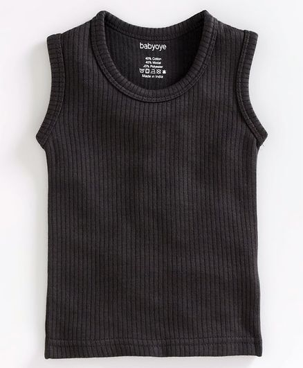 Babyoye Sleeveless Cotton Thermal Vest - Dark Grey