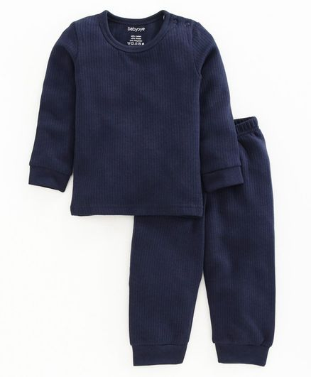 Buy Babyoye Full Sleeves Cotton Thermal Wear Set - Navy Blue for Both (3-6  Months) Online in India, Shop at FirstCry.com - 3585397