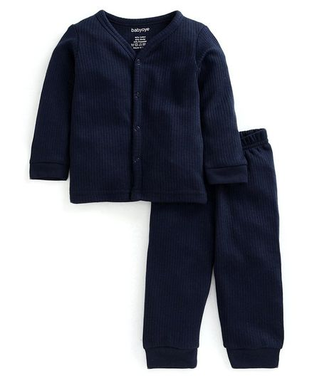 Babyoye Cotton Blend Super Soft Biowash Thermal Inner Wear Set - Navy Blue