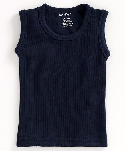 Babyoye Sleeveless Thermal Vest - Navy Blue