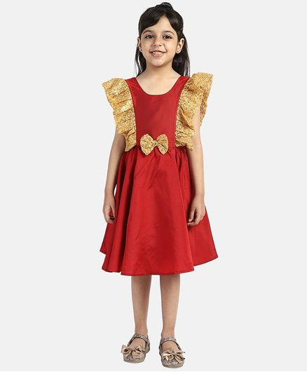 BownBee Cap Sleeves Sequin Detailing Flared Dress - Red